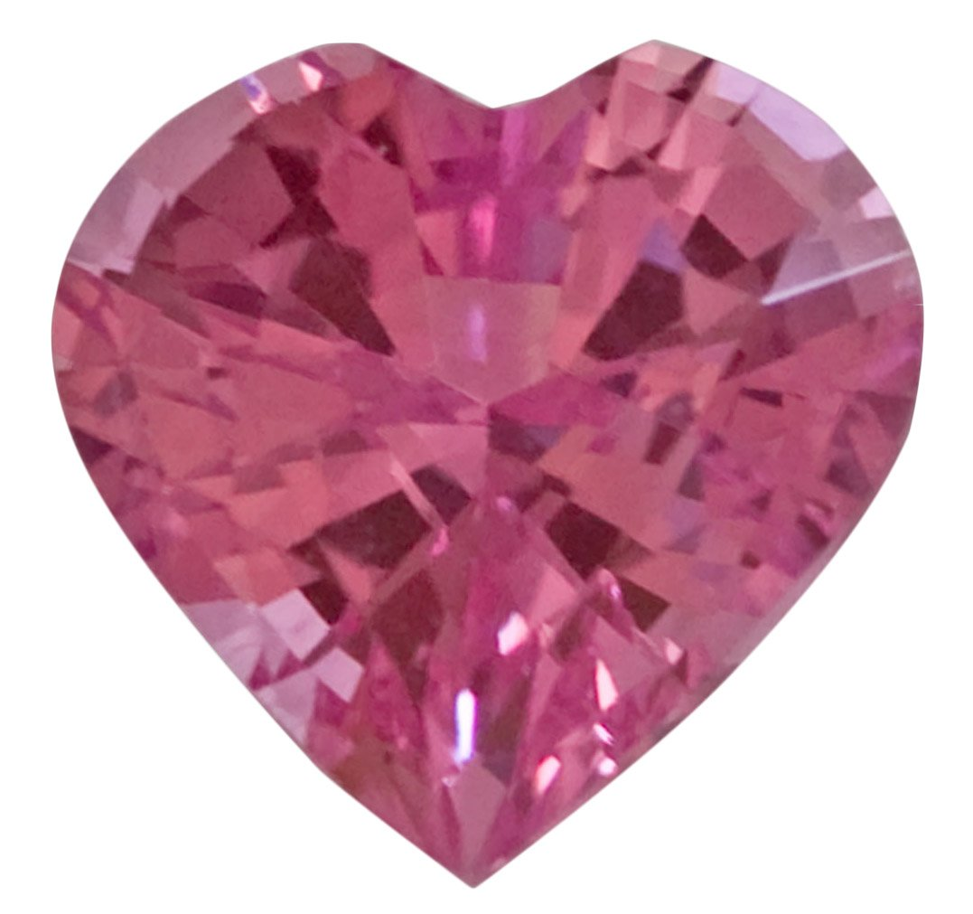 Heart Cut Pink Sapphire Unheated Gemstone in Bold Medium Pink Color, 5.6 mm, 0.75 carats - AGL Certificate