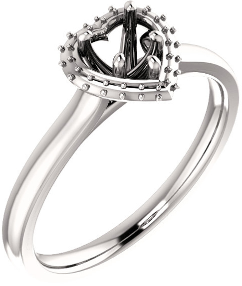 Heart Halo Style Engagement Ring Mounting for 5mm  10mm Center