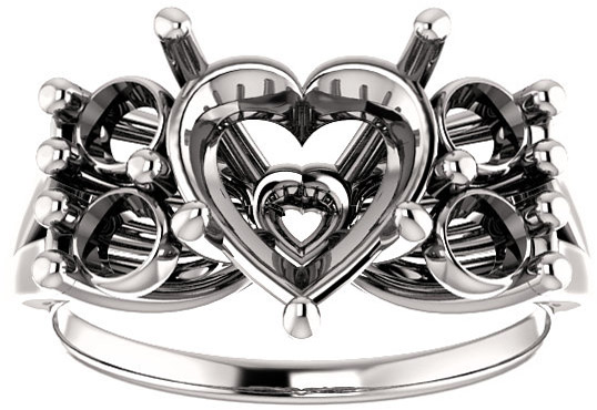 Heart Ring Mounting With 4 Side Accents - Shape Centergems Sized 5.00 mm to 10.00 mm - Customize Metal, Accents or Gem Type