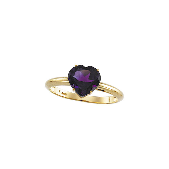 Genuine Amethyst Ring in Heart-Shaped Amethyst Ring