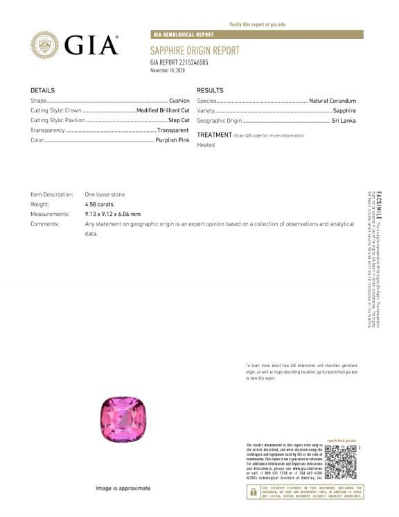 Heirloom Pink Sapphire Gemstone, 4.58 carats, Cushion Cut, 9.13 x 9.12 x 6.06 mm, A Selected Gem with GIA Cert
