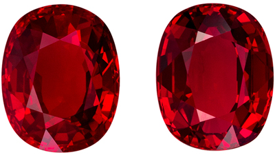 One of a Kind Pair of Rubies, 6.38 carats gemstones, Stunning Gems in 9.1 x 7.3  mm with GRS Certs