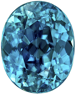 High Color Blue Zircon Gemstone in Oval Cut, Medium Teal Blue, 9.3 x 7.5 mm, 4.12 carats