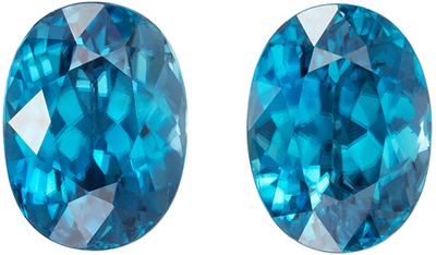 High Color, Blue Zircon Well Matched Pair, Oval Cut, Vivid Tealy Blue, 8 x 6 mm, 4.43 carats
