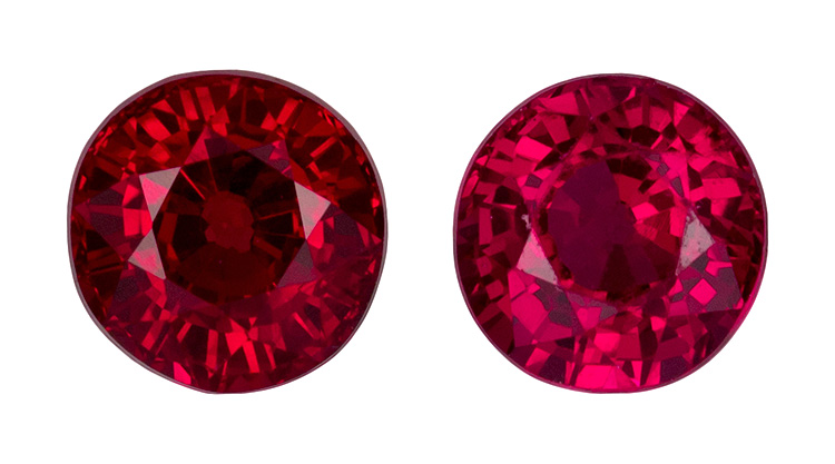 High Color Rubies for Studs in Round Cut Matched Pair, Vivid Rich Red Color in 4.3 mm, 1.04 Carats