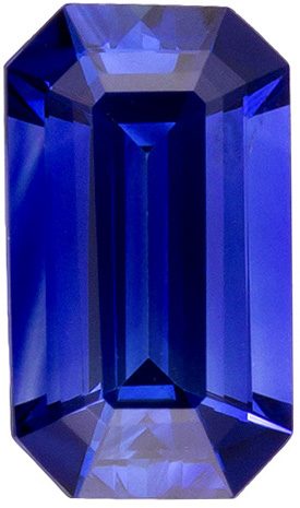 High Color Sapphire Loose Gem in Emerald Cut, Gem Rich Blue, 5 x 2.9 mm, 0.3 carats