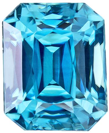 High Color Zircon Loose Gemstone in Radiant Cut, Medium Rich Blue, 7.4 x 6 mm, 2.6 carats
