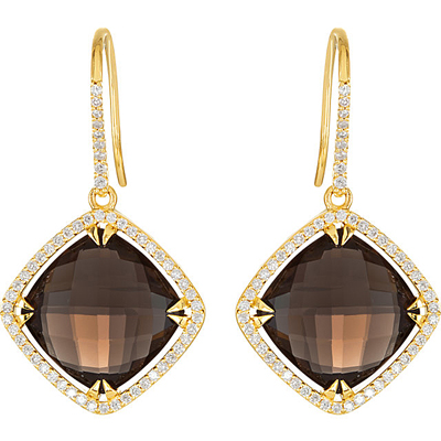 High Fashion 16mm Smokey Quartz Wire Back Dangle Earrings With Diamond Halo Accents in 14k Yellow Gold