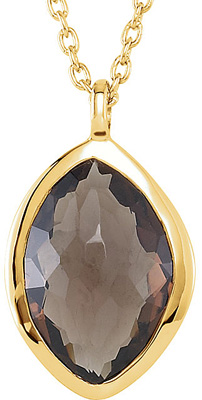 High Fashion 18K Yellow Vermeil Pendant With Smokey Quartz Centergem - Labradorite & Moonstone on the Chain