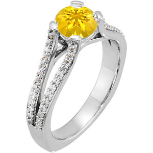 High-Fashion Split Shank 4-Prong Genuine Yellow 1 carat 6mm Sapphire Gemstone Engagement Ring - Diamond Accents Along Bands