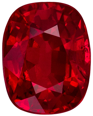 High Quality Ruby Loose Gem, Cushion Cut, Vivid Rich Red, 6.6 x 5.1 mm, 1.16 carats