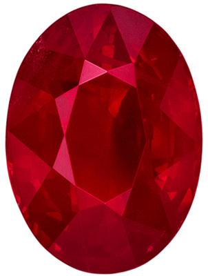 High Quality Ruby Loose Gem, Oval Cut, Pure Rich Red, 7.7 x 5.6 mm, 1.32 carats
