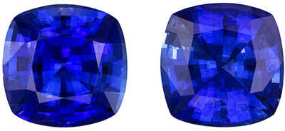 Highly Desirable Blue Sapphire Cushion Cut Well Matched Gemstone Pair, Medium Rich Blue, 5.3 mm, 1.41 carats