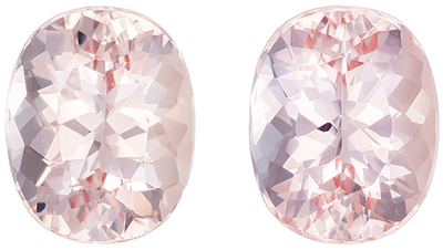Highly Desired Morganite Well Matched Pair, Oval Cut, Rich Pure Peach, 10 x 8 mm, 5.58 carats