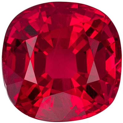 Highly Impressive Ruby Loose Gem, Cushion Cut, Open Rich Red, 5.1 mm, 0.79 carats