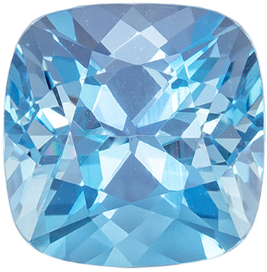 Highly Requested Aquamarine Cushion Cut Genuine Gem, Rich Sky Blue, 8 mm, 2.22 carats
