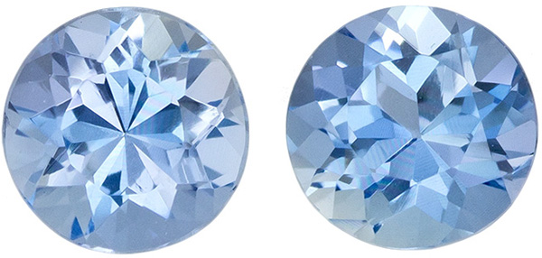 Highly Requested Aquamarine Well Matched Pair in Round Cut, Rich Pure Blue, 4.8 mm, 0.84 carats