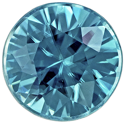 Highly Requested Blue Zircon Gemstone in Round Cut, Vivid Teal Blue, 5 mm, 0.79 carats