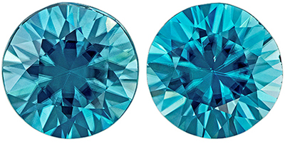 Highly Requested Blue Zircon Well Matched Gemstone Pair in Round Cut, 4.44 carats, Rich Teal Blue, 7.5 mm