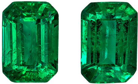 Very Fine Pair of Emerald Gems - Well Matched in Emerald Cut in Rich Green Color in 1.72 carats , 7 x 4.9 mm