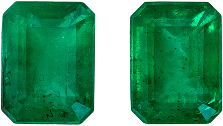 Low Price on Fine Emeralds, Well Matched Gemstone Pair, Emerald Cut in Medium Rich Green, 3.39 carats , 7.9 x 5.9 mm