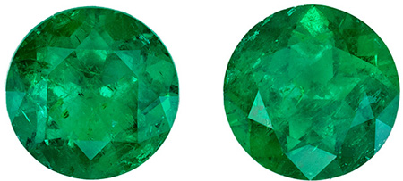 Super Gem Emeralds in Round Matched Gemstone Pair in Vibrant Rich Green Color in 6.8 mm, 2.30 carats