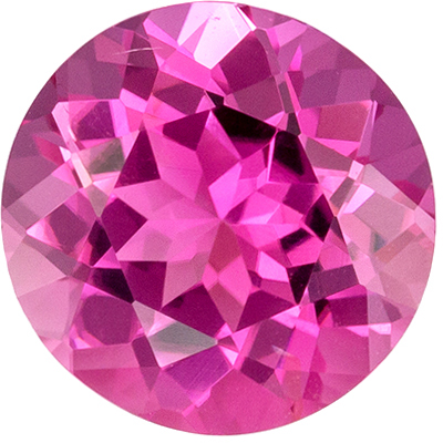 Highly Requested Pink Tourmaline Genuine Gem in Round Cut, Vivid Medium Pink, 6.8 mm, 1.09 carats