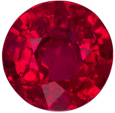 Highly Requested Ruby Genuine Gemstone, Round Cut, Pure Rich Red, 4.9 mm, 0.46 carats