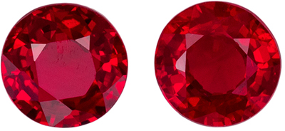 Highly Requested Ruby Round Cut Well Matched Gemstone Pair, Vivid Pure Red, 4 mm, 0.67 carats