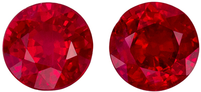 Highly Requested Ruby Well Matched Gemstone Pair, Rich Pure Red, Round Cut, 4.7 mm, 1.11 carats