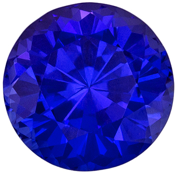 Highly Requested Tanzanite Loose Gem in Round Cut, 1.7 carats, Vivid Blue Purple, 1.7 carats, 7 mm