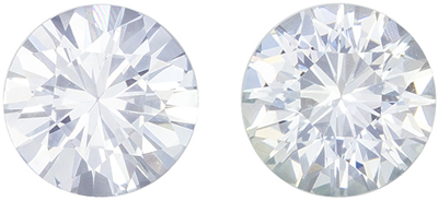 Highly Requested White Sapphire Well Matched Pair, Round Cut, Very Colorless White, 6 mm, 1.98 carats