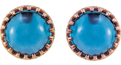 Hot 1.5ct 8.00 mm London Blue Topaz Crown Design Cabochon Button Earrings for SALE - 14k Rose Gold