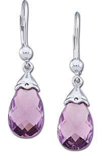 Hot Selling Genuine Amethyst Faceted 12.00 x 8.00 mm, 2.85 ct Briolette Gems set as Earrings in White Gold for SALE