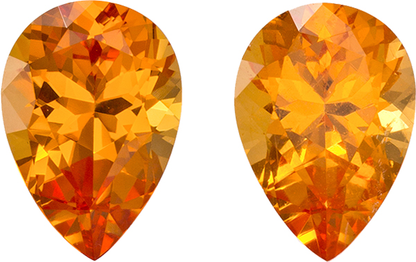 Hot Spessartite Garnets Matched Pair in Pear Cut, Intense Pure Orange Color in 8.9 x 6.2 mm, 3.63 carats