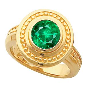 Hot Style! - Shop Real 14k Gold Bezel Set 1 carat 6mm Genuine Low Price on GEM Emerald Fashion Ring With Ornate Beaded Look