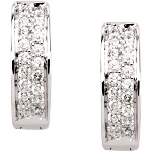 How Pretty! - Astonishing 1/3 ct tw 1.20 mm Diamond Hoop Earrings expertly set in 14 karat Yellow Gold - Very Discounted