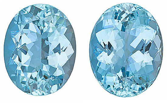 Huge Size! Gorgeous Pair of Large Aquamarine Genuine Gems, Oval Cut, 15.82 Carats