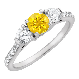 Icy & Bright Yellow 1 carat 6mm Sapphire Engagement Ring - Diamond Side Gems and Diamond Accents Along Band