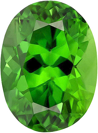 Ideal Color Chrome Tourmaline Gemstone in Oval Cut, Intense Pure Chrome Green Color in7.4 x 5.4 mm, 1.14 carats