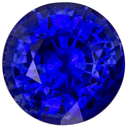 Ideal Sapphire Loose Gem in Round Cut, Intense Rich Blue Color, 6.90 mm, 1.73 carats - SOLD