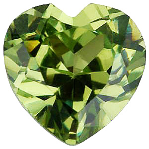 Imitation Peridot Heart Cut Stones