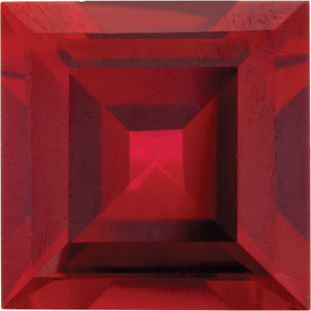 Imitation Ruby Square Cut Stones