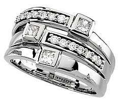 Impressive 0.75 Carat Total Weight 2.90 mm Diamond Right Hand Ring set in 14 karat White Gold