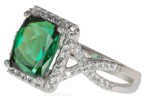Impressive 3.6ct 9.6x8.4mm Blue Green Tourmaline set with Pave Diamond Ring in 14 karat White Gold