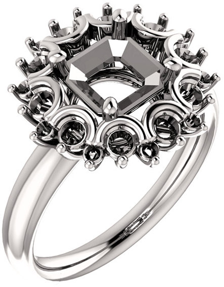 Impressive Accented Mounting for Asscher Shape Centergem Sized 5.00 mm to 7.00 mm - Customize Metal, Accents or Gem Type