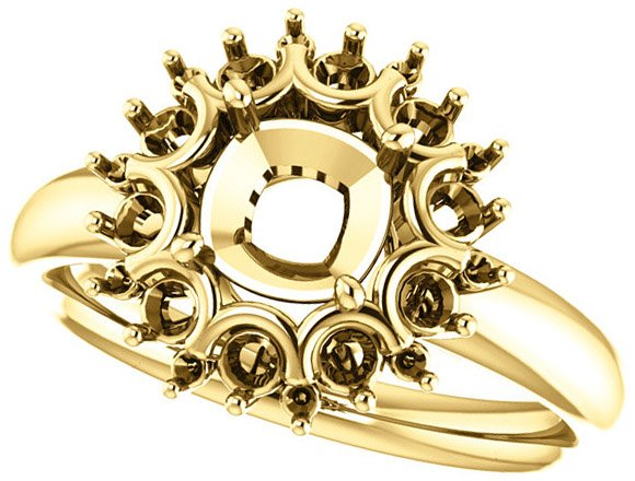 Impressive Accented Mounting for Cushion Shape Centergem Sized 5.00 mm to 8.00 mm - Customize Metal, Accents or Gem Type