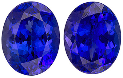 Impressive Blue Purple Tanzanite Pair - Intense Rich Purple Blue, Oval Cut, 4.29 carats