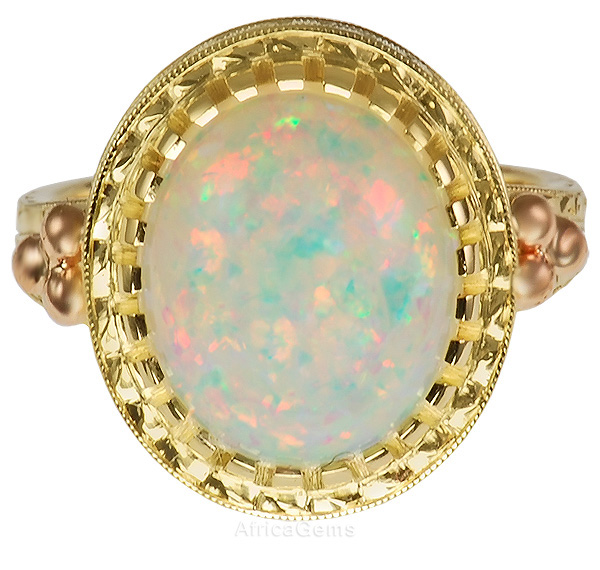 Impressive Brazillian Opal Bezel set in Detailed Engraved Gold Custom Ring - SOLD