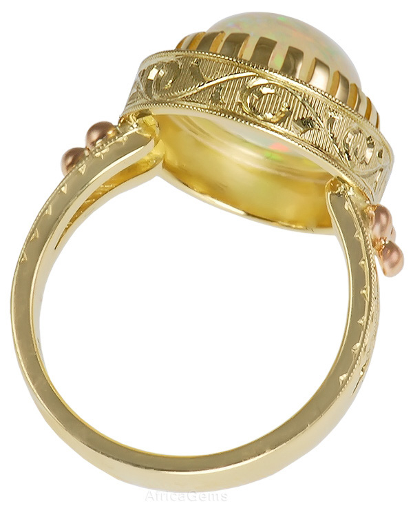 Lightning Ridge Crystal Opal Bezel set in 18 kt Gold Handmade Ring - SOLD